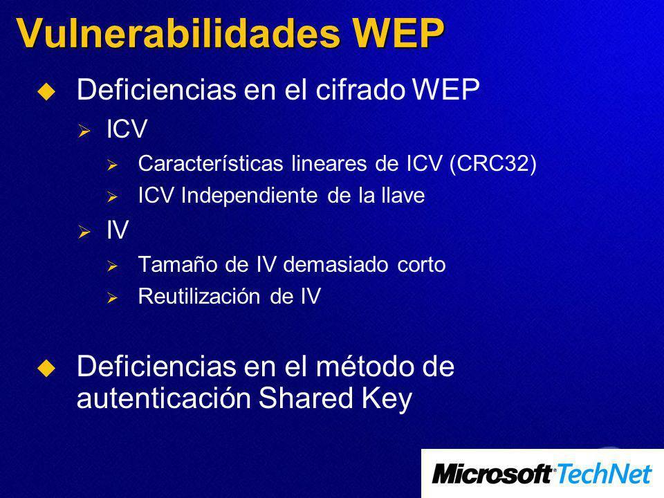Vulnerabilidades WEP Deficiencias en el cifrado WEP ICV Características lineares de ICV (CRC32) ICV Independiente de la llave IV Tamaño de IV demasiado corto Reutilización de IV Deficiencias en el método de autenticación Shared Key