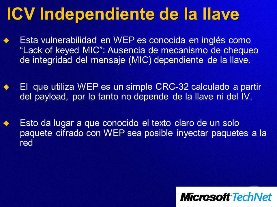 ICV Independiente de la llave Esta vulnerabilidad en WEP es conocida en inglés como Lack of keyed MIC: Ausencia de mecanismo de chequeo de integridad del mensaje (MIC) dependiente de la llave.
