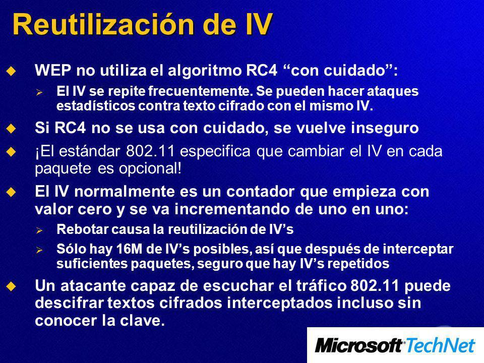 Reutilización de IV WEP no utiliza el algoritmo RC4 con cuidado: El IV se repite frecuentemente. Se pueden hacer ataques estadísticos contra texto cif