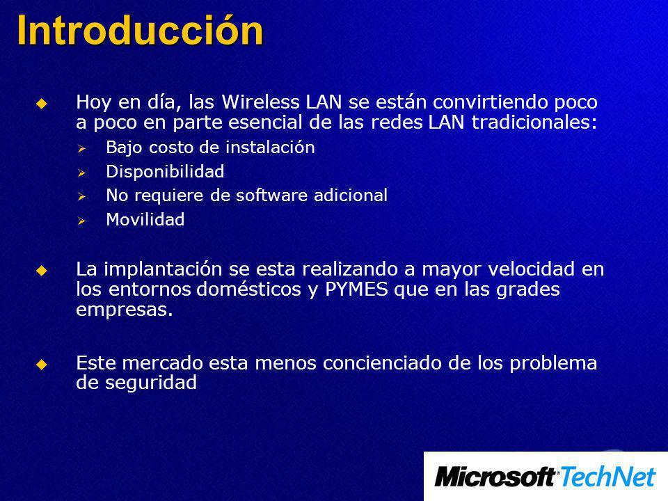 Introducción Hoy en día, las Wireless LAN se están convirtiendo poco a poco en parte esencial de las redes LAN tradicionales: Bajo costo de instalació