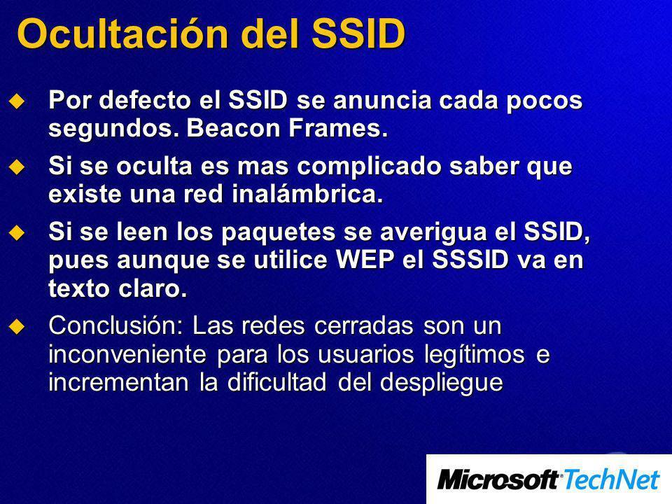 Ocultación del SSID Por defecto el SSID se anuncia cada pocos segundos. Beacon Frames. Por defecto el SSID se anuncia cada pocos segundos. Beacon Fram