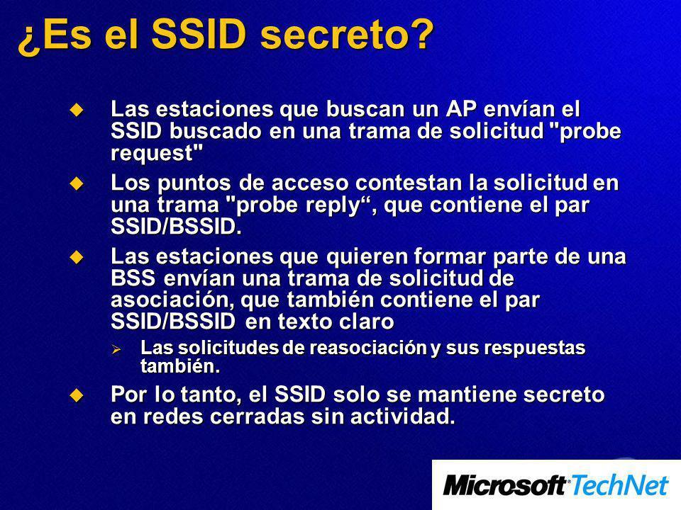 ¿Es el SSID secreto? Las estaciones que buscan un AP envían el SSID buscado en una trama de solicitud