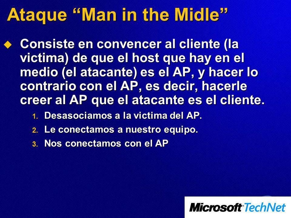 Ataque Man in the Midle Consiste en convencer al cliente (la victima) de que el host que hay en el medio (el atacante) es el AP, y hacer lo contrario con el AP, es decir, hacerle creer al AP que el atacante es el cliente.