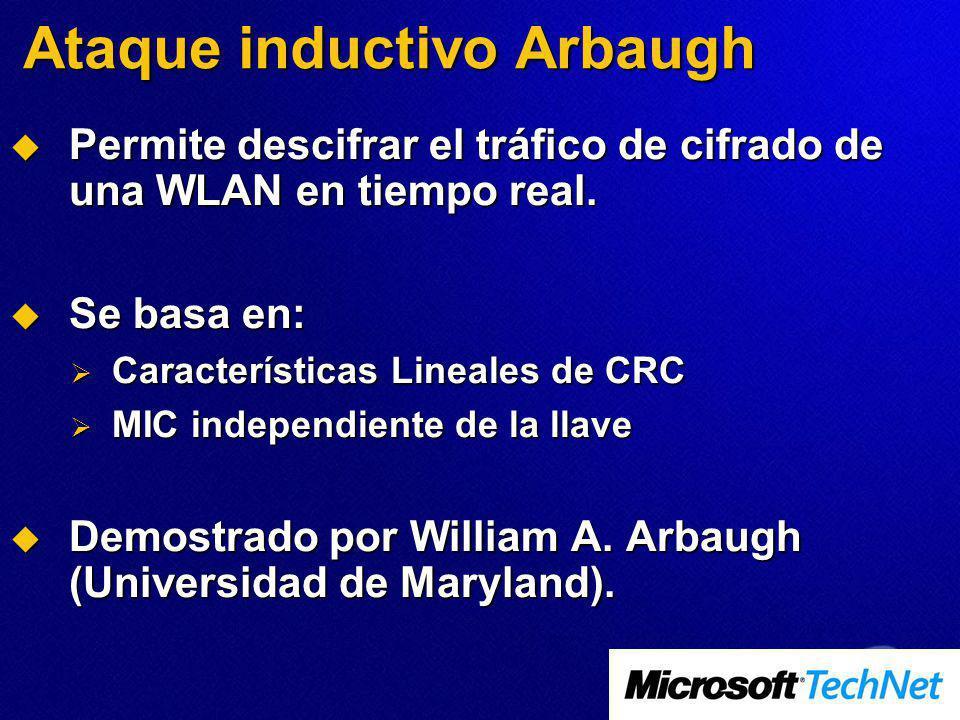 Ataque inductivo Arbaugh Permite descifrar el tráfico de cifrado de una WLAN en tiempo real. Permite descifrar el tráfico de cifrado de una WLAN en ti