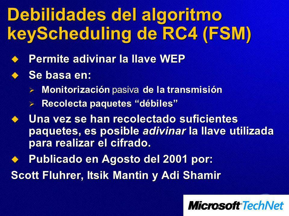 Debilidades del algoritmo keyScheduling de RC4 (FSM) Permite adivinar la llave WEP Permite adivinar la llave WEP Se basa en: Se basa en: Monitorizació
