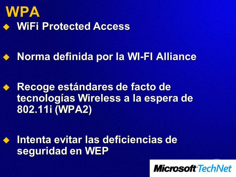 WPA WiFi Protected Access WiFi Protected Access Norma definida por la WI-FI Alliance Norma definida por la WI-FI Alliance Recoge estándares de facto de tecnologías Wireless a la espera de 802.11i (WPA2) Recoge estándares de facto de tecnologías Wireless a la espera de 802.11i (WPA2) Intenta evitar las deficiencias de seguridad en WEP Intenta evitar las deficiencias de seguridad en WEP