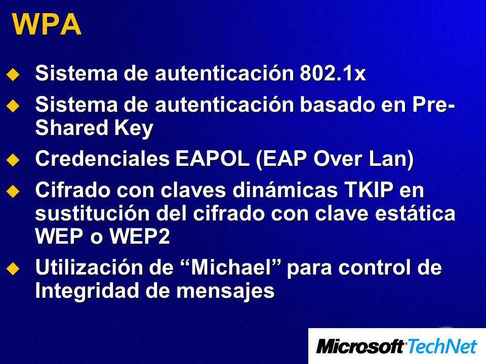 WPA Sistema de autenticación 802.1x Sistema de autenticación 802.1x Sistema de autenticación basado en Pre- Shared Key Sistema de autenticación basado en Pre- Shared Key Credenciales EAPOL (EAP Over Lan) Credenciales EAPOL (EAP Over Lan) Cifrado con claves dinámicas TKIP en sustitución del cifrado con clave estática WEP o WEP2 Cifrado con claves dinámicas TKIP en sustitución del cifrado con clave estática WEP o WEP2 Utilización de Michael para control de Integridad de mensajes Utilización de Michael para control de Integridad de mensajes