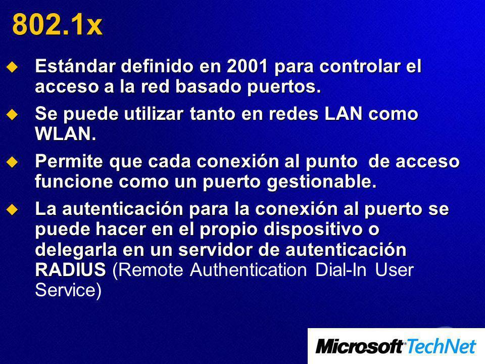 802.1x Estándar definido en 2001 para controlar el acceso a la red basado puertos. Estándar definido en 2001 para controlar el acceso a la red basado