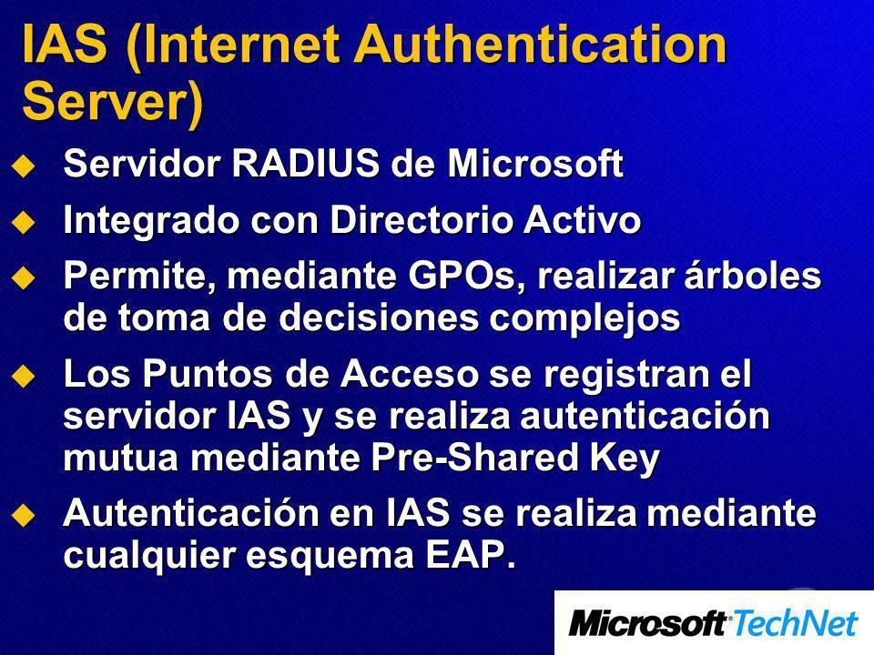 IAS (Internet Authentication Server) Servidor RADIUS de Microsoft Servidor RADIUS de Microsoft Integrado con Directorio Activo Integrado con Directorio Activo Permite, mediante GPOs, realizar árboles de toma de decisiones complejos Permite, mediante GPOs, realizar árboles de toma de decisiones complejos Los Puntos de Acceso se registran el servidor IAS y se realiza autenticación mutua mediante Pre-Shared Key Los Puntos de Acceso se registran el servidor IAS y se realiza autenticación mutua mediante Pre-Shared Key Autenticación en IAS se realiza mediante cualquier esquema EAP.