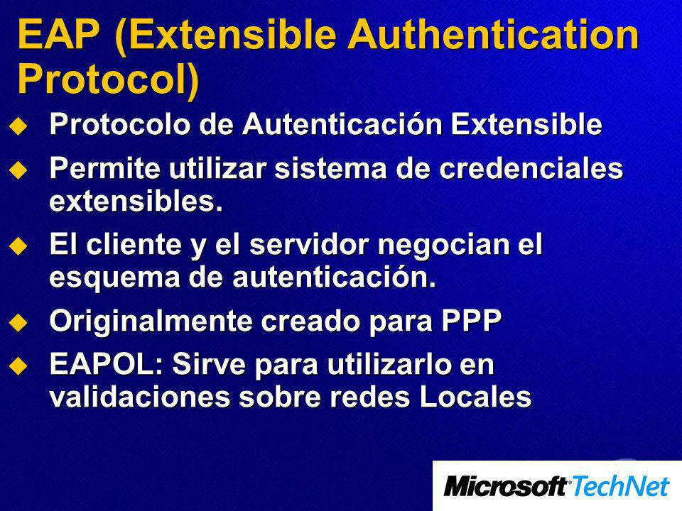 EAP (Extensible Authentication Protocol) Protocolo de Autenticación Extensible Protocolo de Autenticación Extensible Permite utilizar sistema de crede