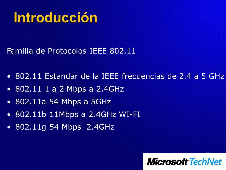 Familia de Protocolos IEEE 802.11 802.11 Estandar de la IEEE frecuencias de 2.4 a 5 GHz 802.11 1 a 2 Mbps a 2.4GHz 802.11a 54 Mbps a 5GHz 802.11b 11Mbps a 2.4GHz WI-FI 802.11g 54 Mbps 2.4GHz Introducción