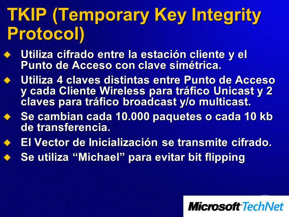 TKIP (Temporary Key Integrity Protocol) Utiliza cifrado entre la estación cliente y el Punto de Acceso con clave simétrica. Utiliza cifrado entre la e