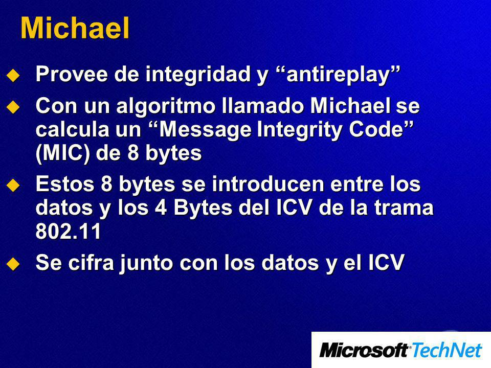 Michael Provee de integridad y antireplay Provee de integridad y antireplay Con un algoritmo llamado Michael se calcula un Message Integrity Code (MIC