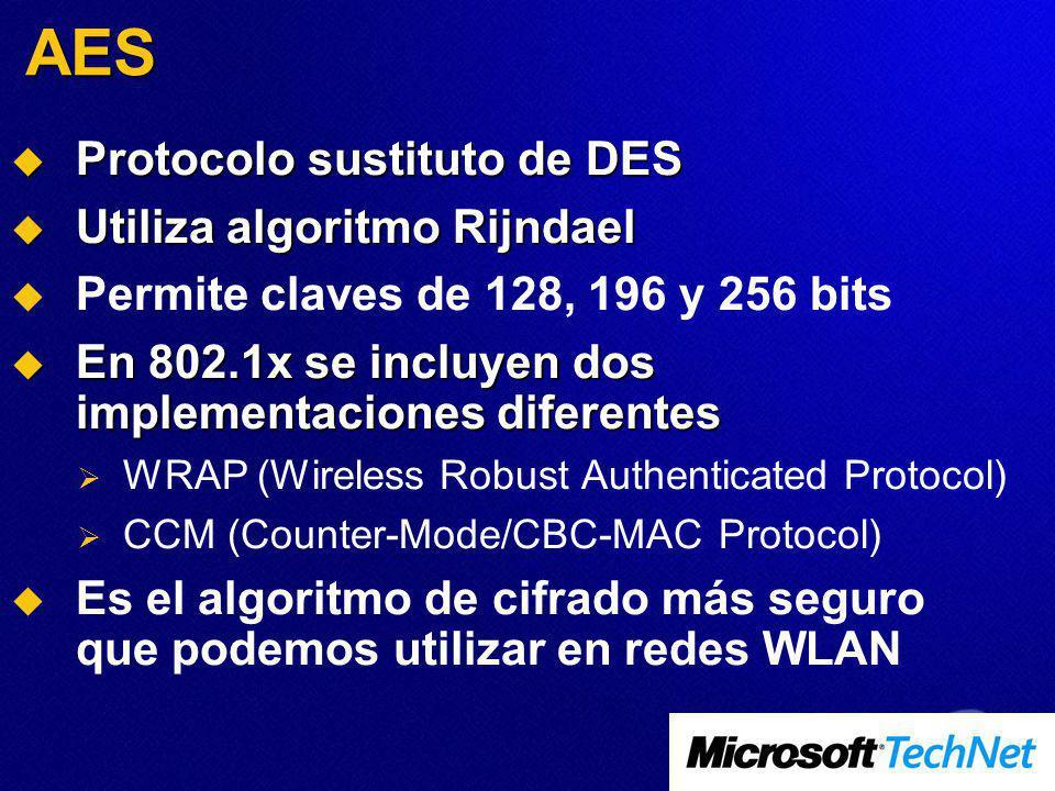 AES Protocolo sustituto de DES Protocolo sustituto de DES Utiliza algoritmo Rijndael Utiliza algoritmo Rijndael Permite claves de 128, 196 y 256 bits En 802.1x se incluyen dos implementaciones diferentes En 802.1x se incluyen dos implementaciones diferentes WRAP (Wireless Robust Authenticated Protocol) CCM (Counter-Mode/CBC-MAC Protocol) Es el algoritmo de cifrado más seguro que podemos utilizar en redes WLAN