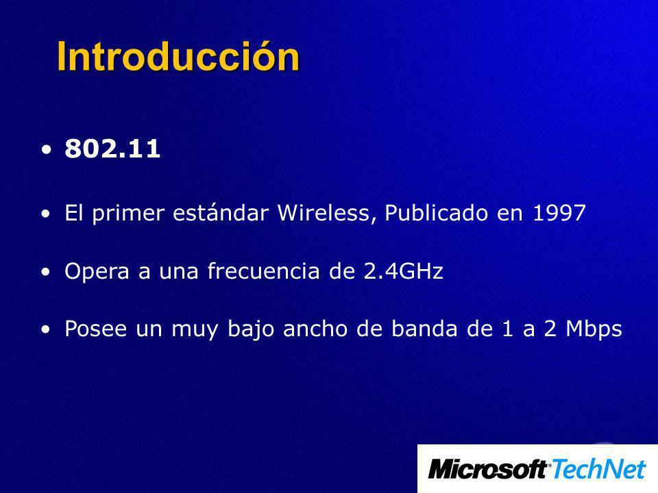 802.11 El primer estándar Wireless, Publicado en 1997 Opera a una frecuencia de 2.4GHz Posee un muy bajo ancho de banda de 1 a 2 Mbps Introducción
