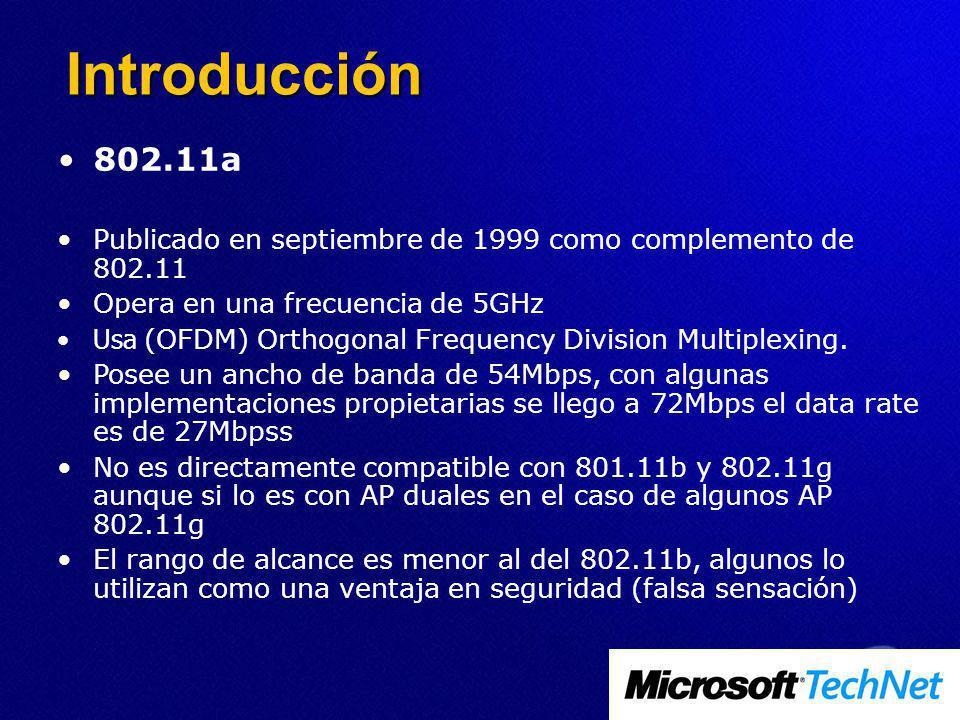 802.11a Publicado en septiembre de 1999 como complemento de 802.11 Opera en una frecuencia de 5GHz Usa (OFDM) Orthogonal Frequency Division Multiplexing.
