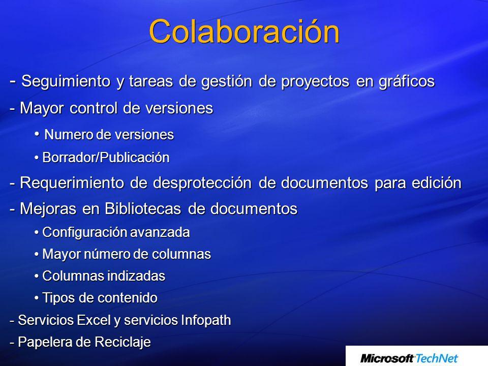 - Seguimiento y tareas de gestión de proyectos en gráficos - Mayor control de versiones Numero de versiones Numero de versiones Borrador/Publicación B