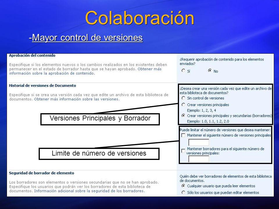 -Mayor control de versiones Versiones Principales y Borrador Limite de número de versiones