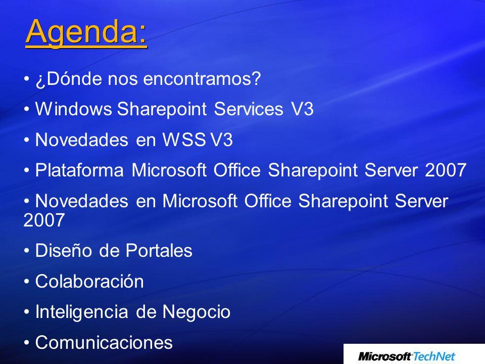 Agenda: ¿Dónde nos encontramos? Windows Sharepoint Services V3 Novedades en WSS V3 Plataforma Microsoft Office Sharepoint Server 2007 Novedades en Mic