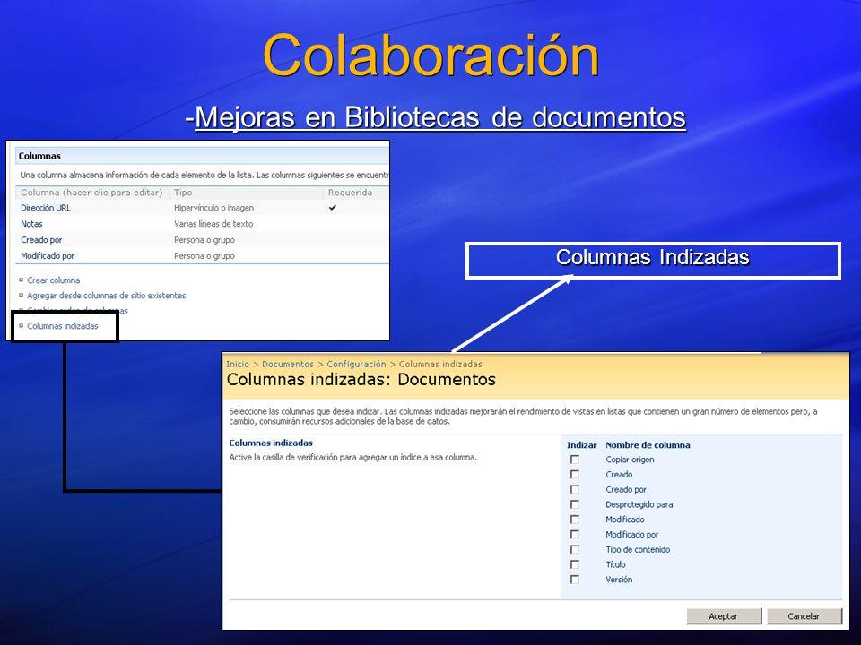 Colaboración -Mejoras en Bibliotecas de documentos Columnas Indizadas