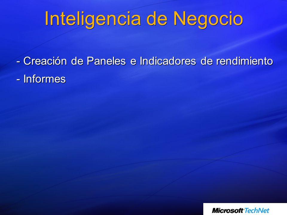 Inteligencia de Negocio - Creación de Paneles e Indicadores de rendimiento - Informes