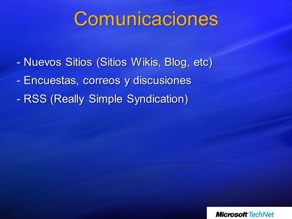 - Nuevos Sitios (Sitios Wikis, Blog, etc) - Encuestas, correos y discusiones - RSS (Really Simple Syndication)