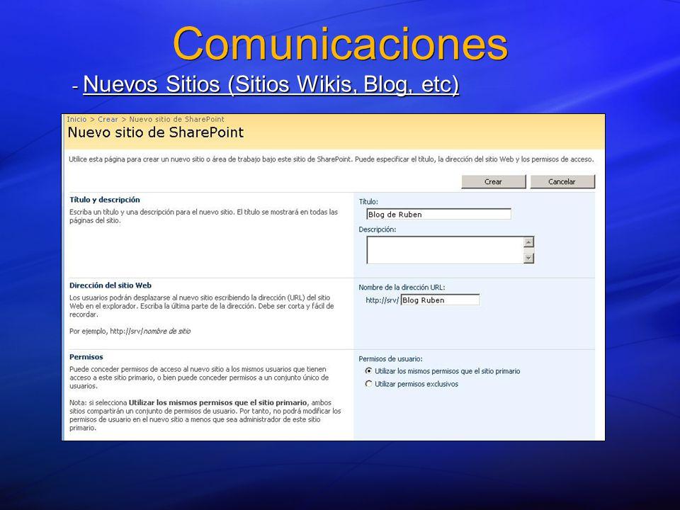 Comunicaciones - Nuevos Sitios (Sitios Wikis, Blog, etc)