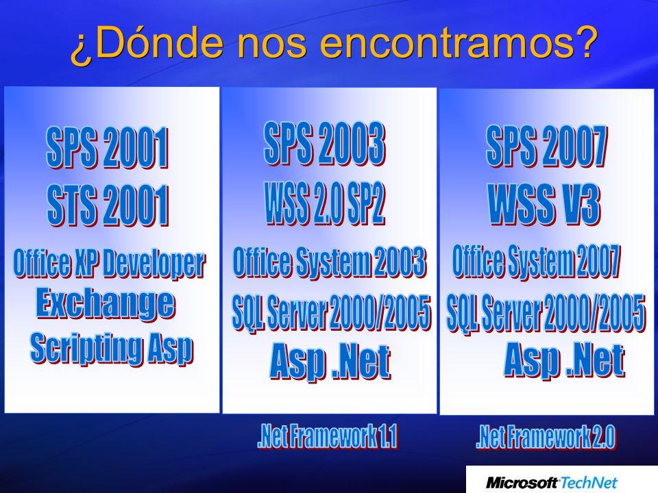 Windows Sharepoint Services v3 Siguiente versión de Windows Sharepoint Services 2.0 Servicios base que incorporan herramientas de colaboración sobre la plataforma Windows Server 2003.
