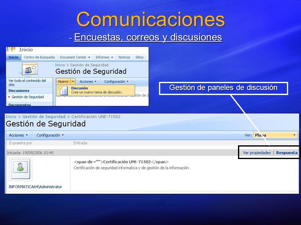 Comunicaciones - Encuestas, correos y discusiones Gestión de paneles de discusión