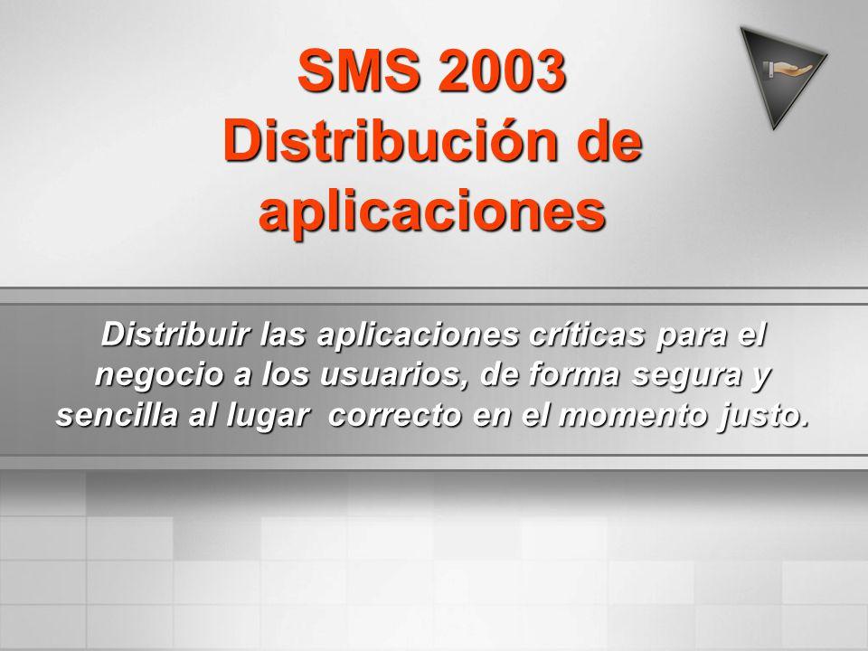 SMS 2003 Distribución de aplicaciones Distribuir las aplicaciones críticas para el negocio a los usuarios, de forma segura y sencilla al lugar correct