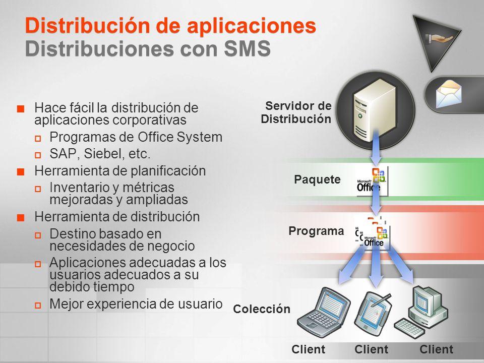 Distribución de aplicaciones Distribuciones con SMS Hace fácil la distribución de aplicaciones corporativas Programas de Office System SAP, Siebel, et