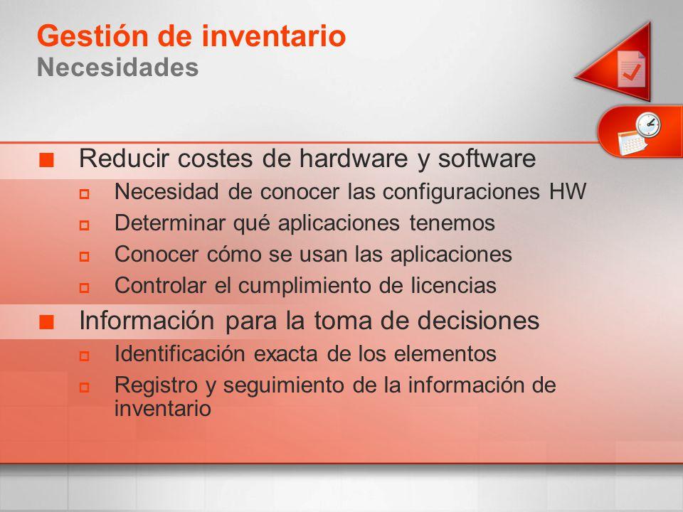 Reducir costes de hardware y software Necesidad de conocer las configuraciones HW Determinar qué aplicaciones tenemos Conocer cómo se usan las aplicac