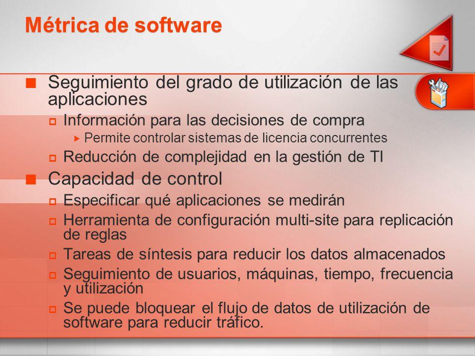 Métrica de software Seguimiento del grado de utilización de las aplicaciones Información para las decisiones de compra Permite controlar sistemas de l