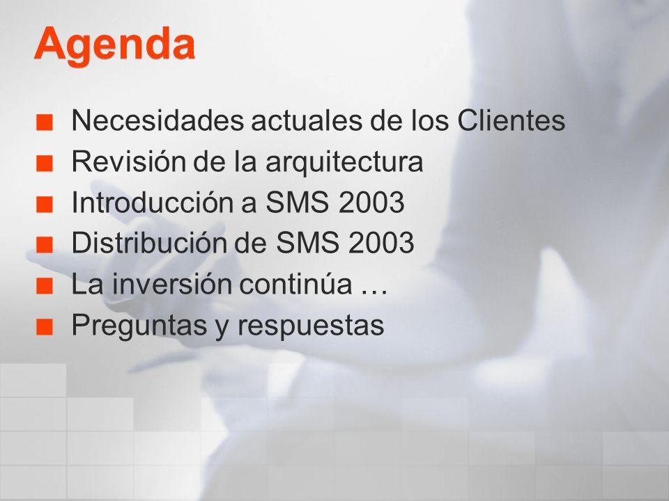 Agenda Necesidades actuales de los Clientes Revisión de la arquitectura Introducción a SMS 2003 Distribución de SMS 2003 La inversión continúa … Pregu