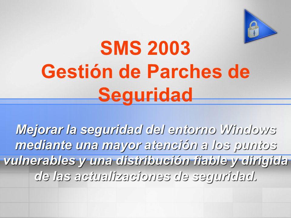 SMS 2003 Gestión de Parches de Seguridad Mejorar la seguridad del entorno Windows mediante una mayor atención a los puntos vulnerables y una distribuc