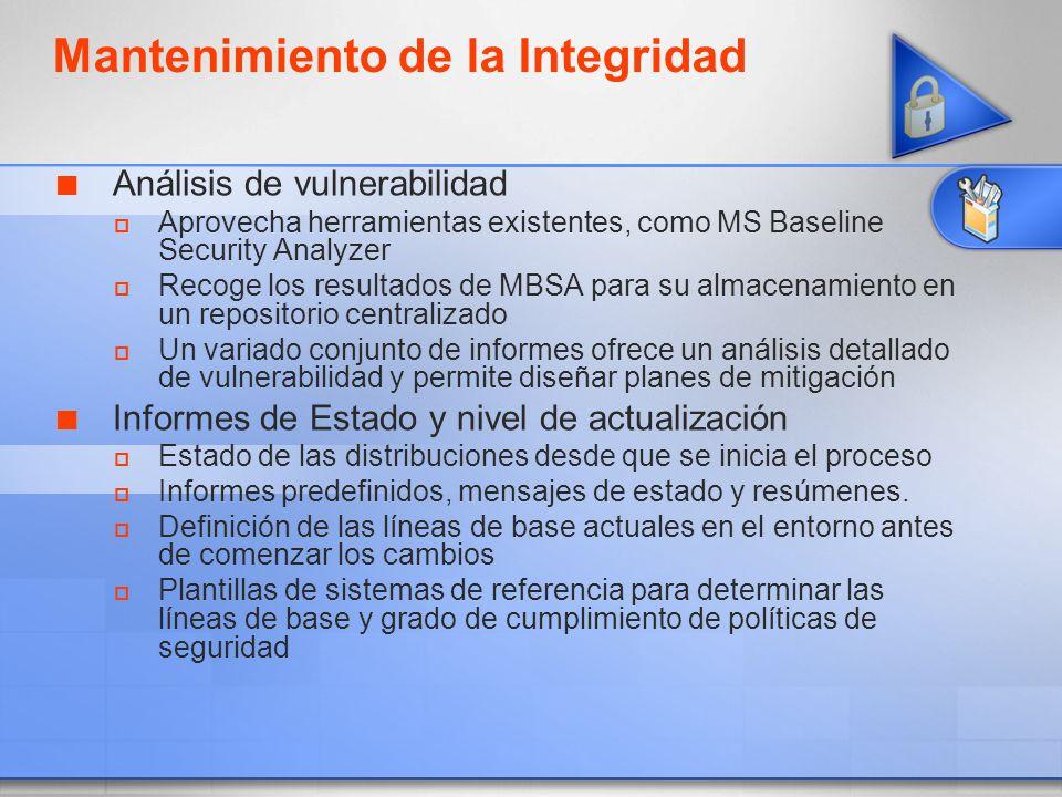 Mantenimiento de la Integridad Análisis de vulnerabilidad Aprovecha herramientas existentes, como MS Baseline Security Analyzer Recoge los resultados