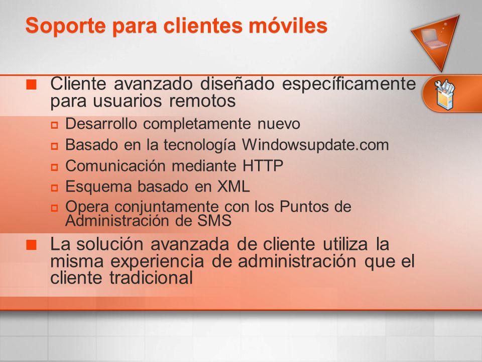 Cliente avanzado diseñado específicamente para usuarios remotos Desarrollo completamente nuevo Basado en la tecnología Windowsupdate.com Comunicación