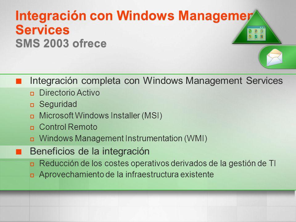 Integración con Windows Management Services SMS 2003 ofrece Integración completa con Windows Management Services Directorio Activo Seguridad Microsoft
