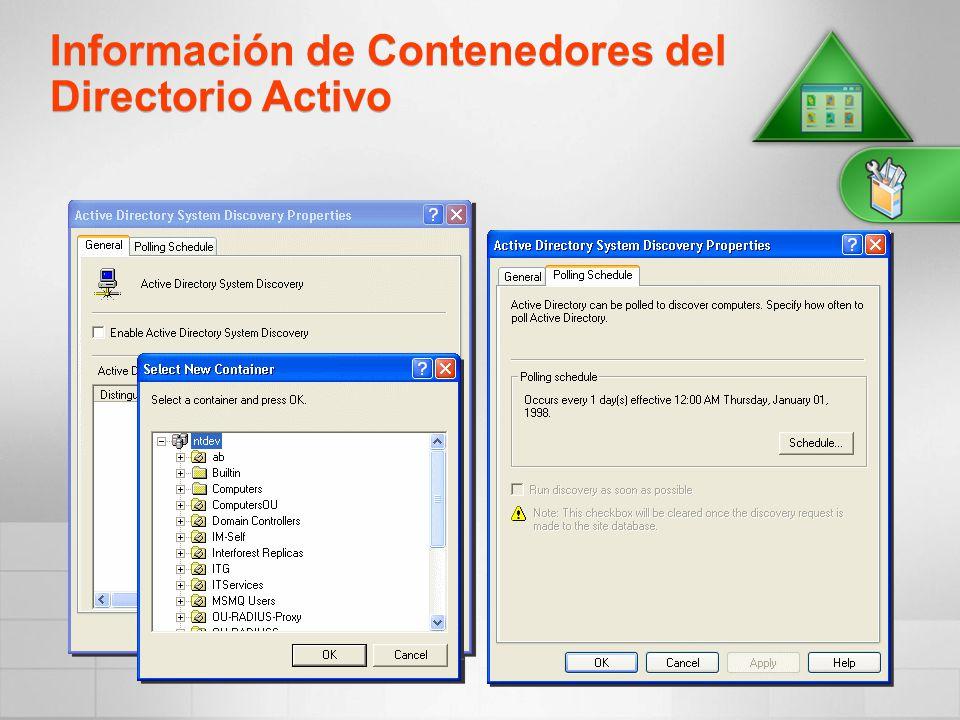 Información de Contenedores del Directorio Activo