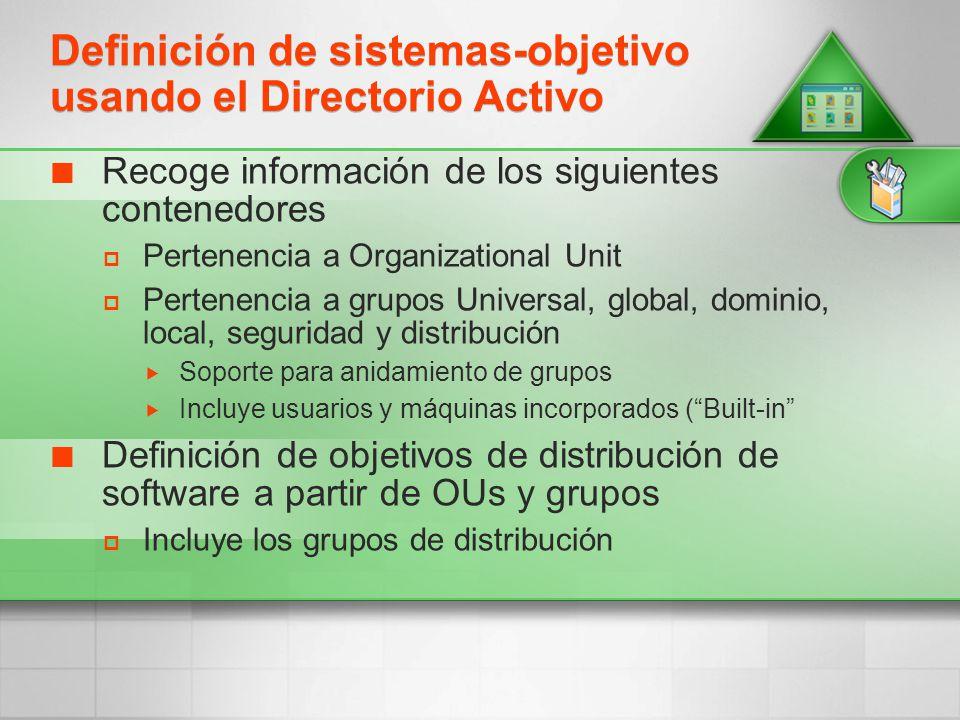 Definición de sistemas-objetivo usando el Directorio Activo Recoge información de los siguientes contenedores Pertenencia a Organizational Unit Perten
