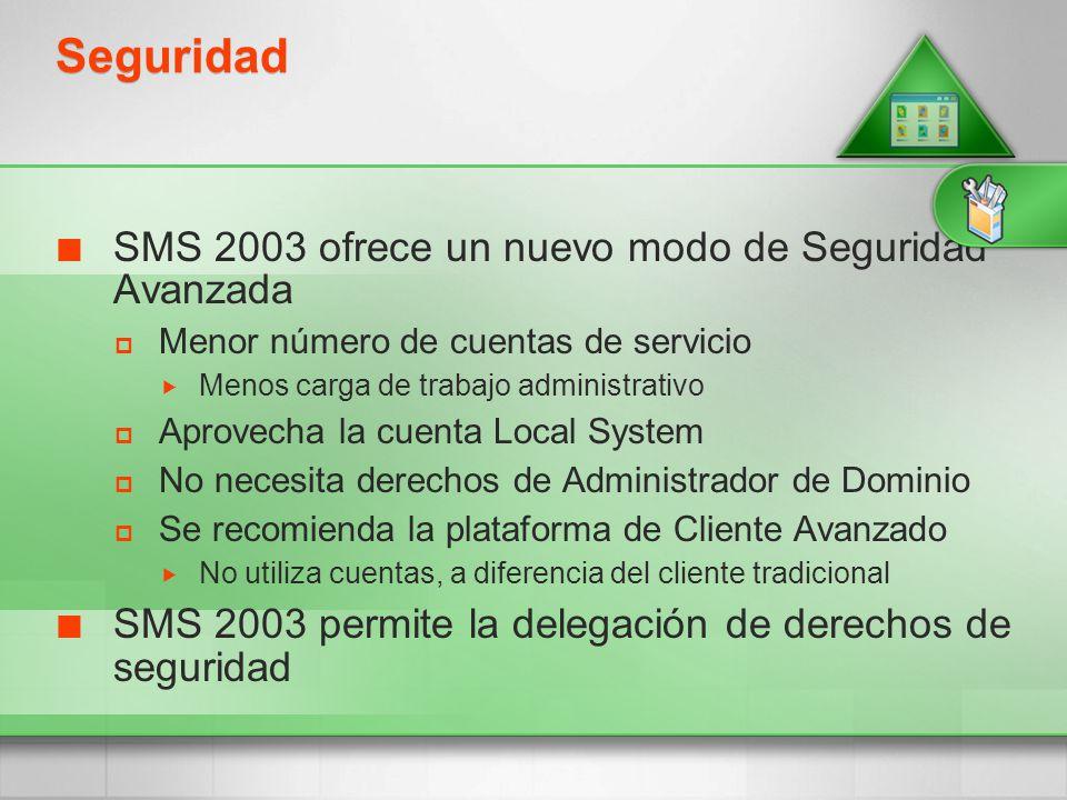 Seguridad SMS 2003 ofrece un nuevo modo de Seguridad Avanzada Menor número de cuentas de servicio Menos carga de trabajo administrativo Aprovecha la c