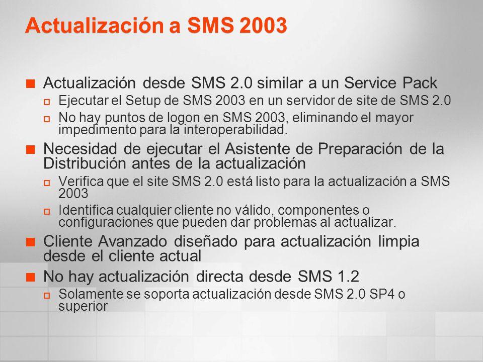Actualización a SMS 2003 Actualización desde SMS 2.0 similar a un Service Pack Ejecutar el Setup de SMS 2003 en un servidor de site de SMS 2.0 No hay