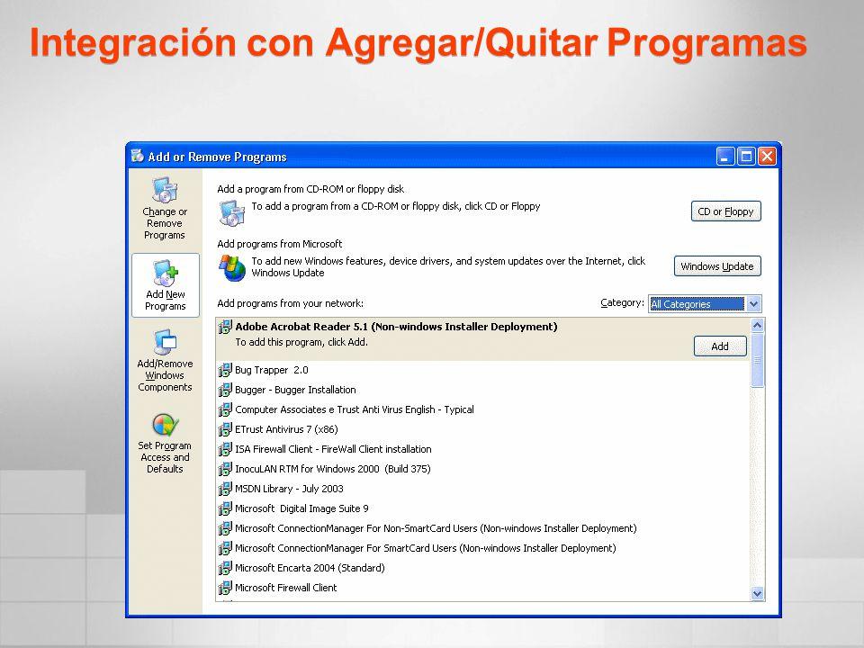 Integración con Agregar/Quitar Programas