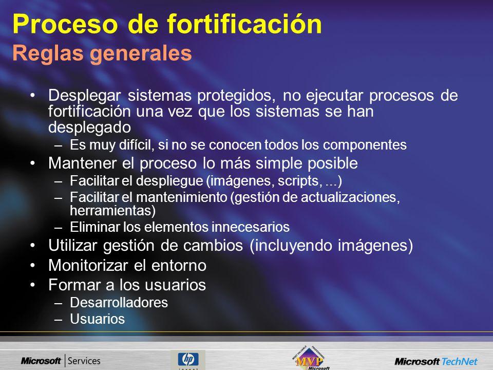 Proceso de fortificación Reglas generales Desplegar sistemas protegidos, no ejecutar procesos de fortificación una vez que los sistemas se han despleg