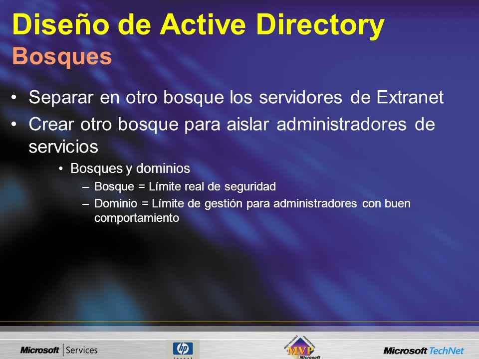 Diseño de Active Directory Bosques Separar en otro bosque los servidores de Extranet Crear otro bosque para aislar administradores de servicios Bosques y dominios –Bosque = Límite real de seguridad –Dominio = Límite de gestión para administradores con buen comportamiento