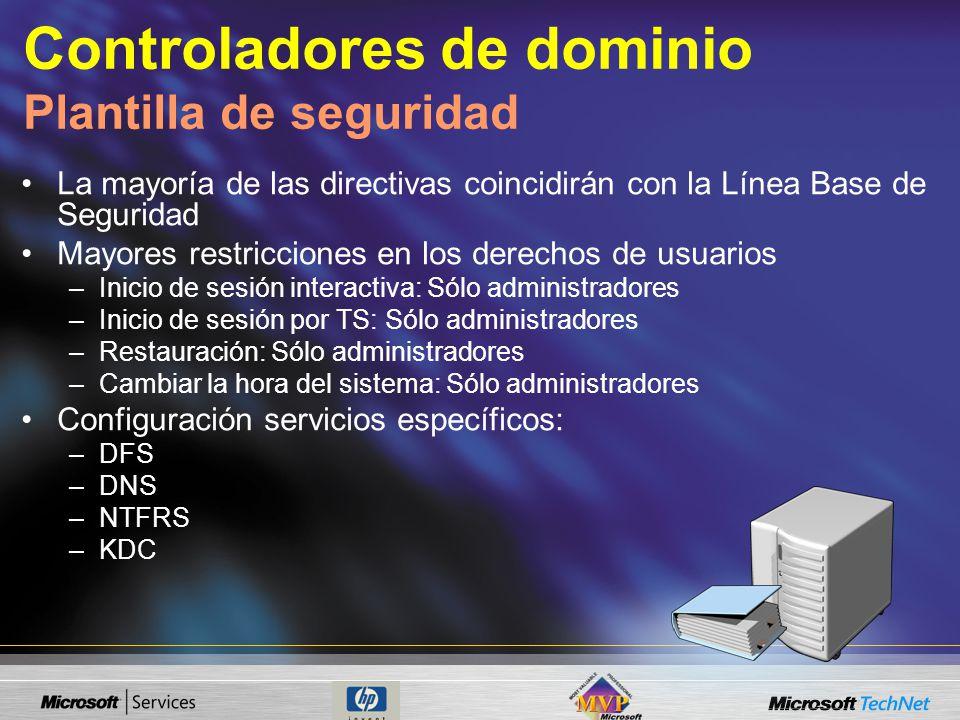Controladores de dominio Plantilla de seguridad La mayoría de las directivas coincidirán con la Línea Base de Seguridad Mayores restricciones en los d