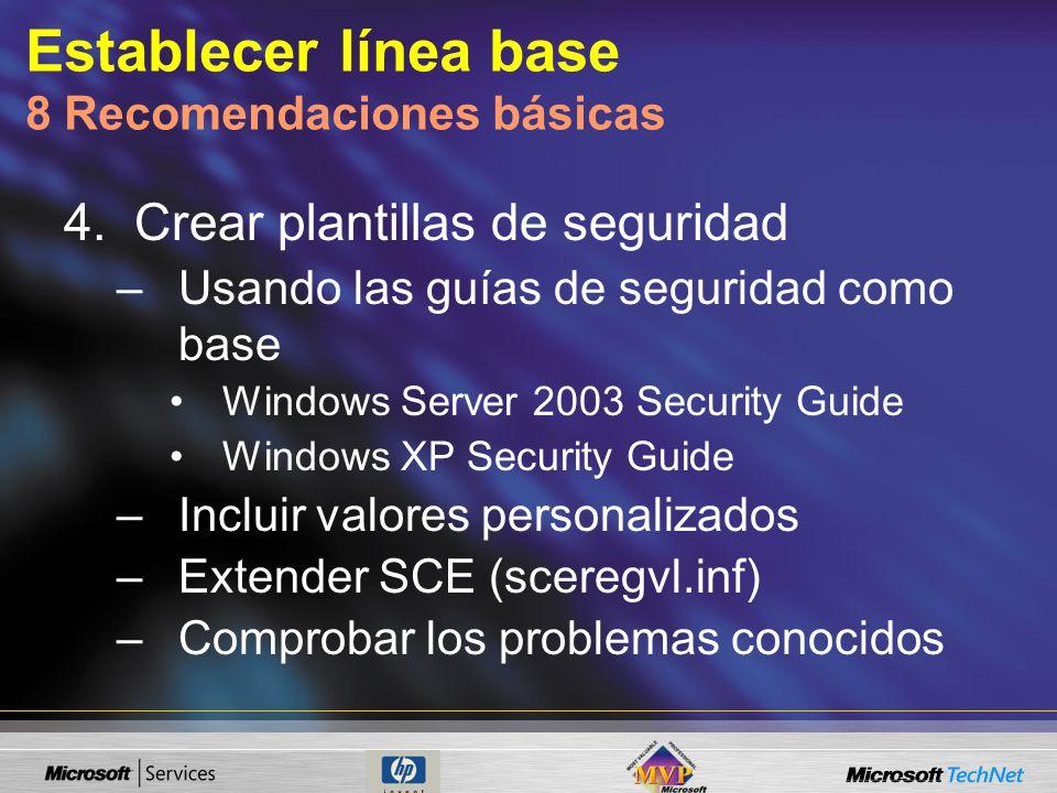 Establecer línea base 8 Recomendaciones básicas 4.Crear plantillas de seguridad –Usando las guías de seguridad como base Windows Server 2003 Security Guide Windows XP Security Guide –Incluir valores personalizados –Extender SCE (sceregvl.inf) –Comprobar los problemas conocidos
