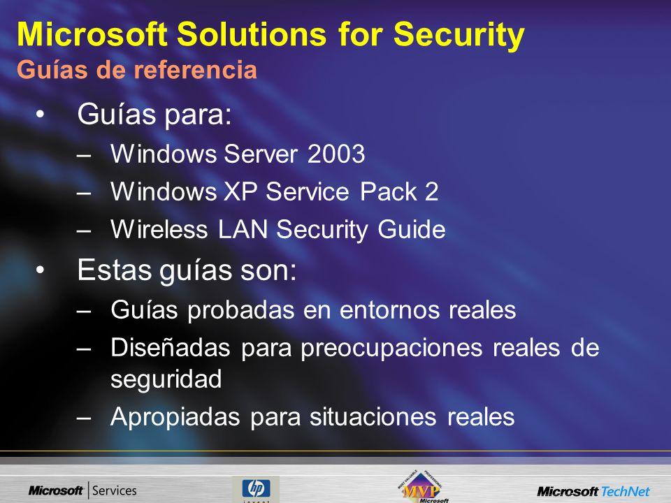 Guías para: –Windows Server 2003 –Windows XP Service Pack 2 –Wireless LAN Security Guide Estas guías son: –Guías probadas en entornos reales –Diseñadas para preocupaciones reales de seguridad –Apropiadas para situaciones reales Microsoft Solutions for Security Guías de referencia