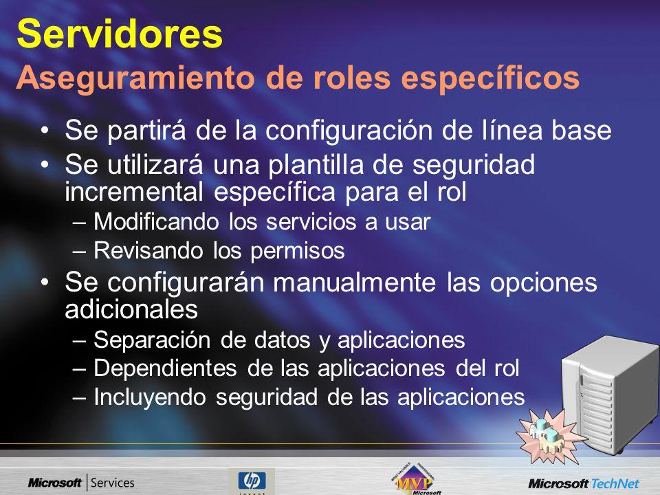 Servidores Aseguramiento de roles específicos Se partirá de la configuración de línea base Se utilizará una plantilla de seguridad incremental específ