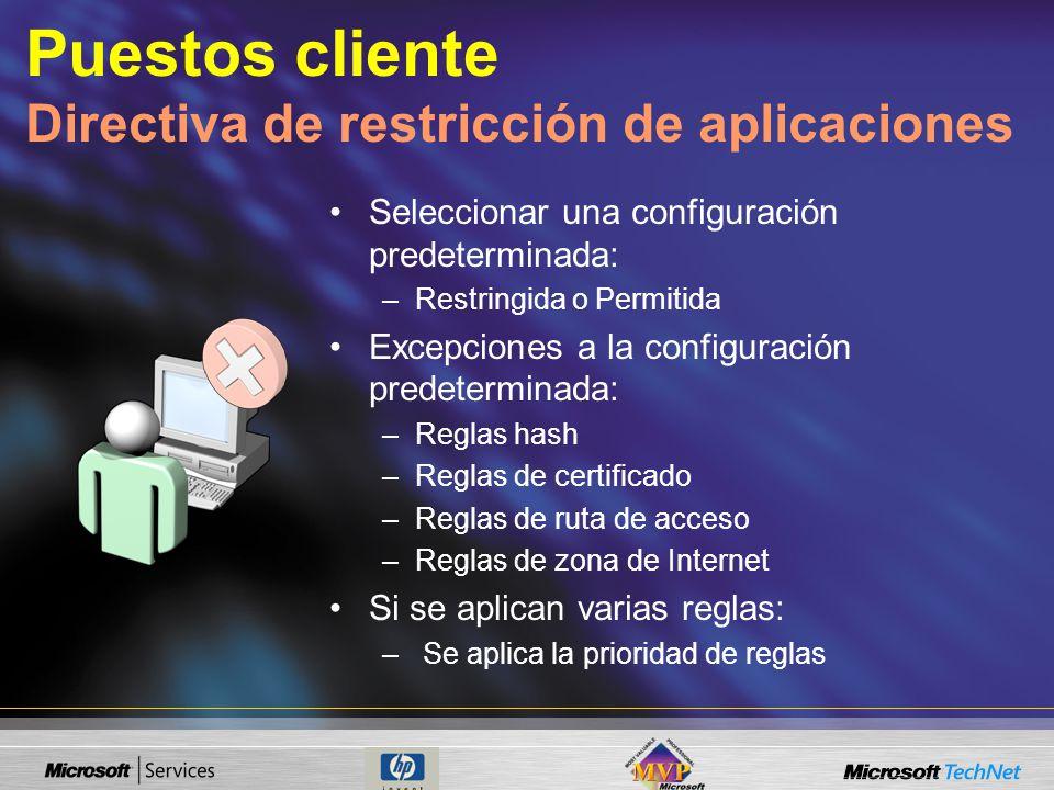 Seleccionar una configuración predeterminada: –Restringida o Permitida Excepciones a la configuración predeterminada: –Reglas hash –Reglas de certificado –Reglas de ruta de acceso –Reglas de zona de Internet Si se aplican varias reglas: – Se aplica la prioridad de reglas Puestos cliente Directiva de restricción de aplicaciones